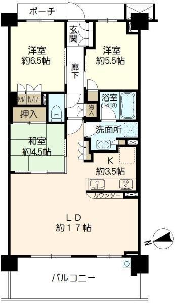 ブリリアシティ横浜磯子A棟の間取図/2F/4,580万円/3LDK/80.52 m²