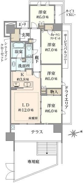 ブリリアシティ横浜磯子 D棟の間取図/1F/3,990万円/4LDK/88.86 m²