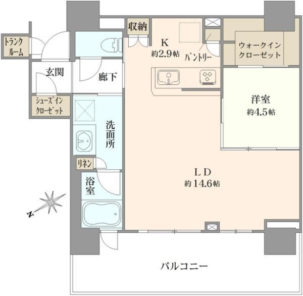 ブリリア有明シティタワーの間取図/29F/5,500万円/1LDK/55.94 m²