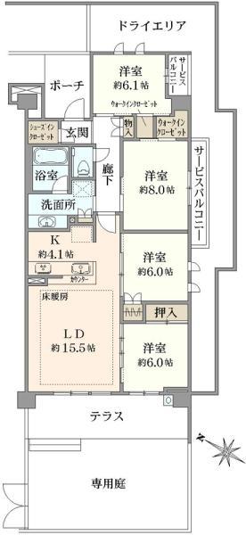 ブリリアシティ横浜磯子 C棟の間取図/1F/5,680万円/4LDK/101.53 m²