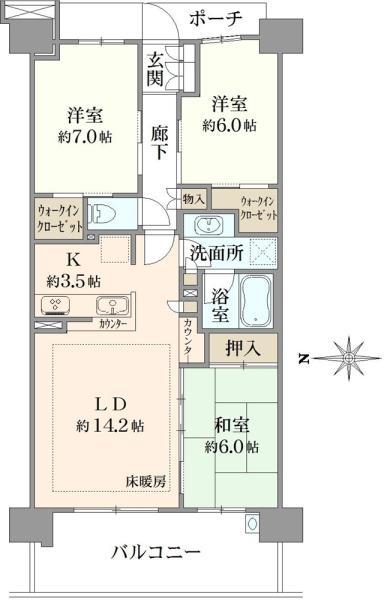 ブリリアシティ横浜磯子 E棟の間取図/6F/4,680万円/3LDK/80.76 m²