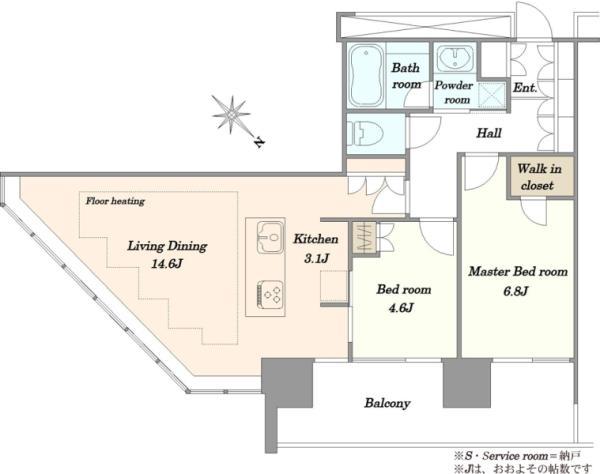 ブリリアグランデみなとみらいパークフロントタワーの間取図/15F/6,680万円/2LDK/66.96 m²