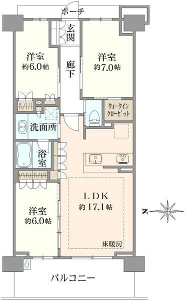 ブリリアシティ横浜磯子K棟の間取図/8F/4,800万円/3LDK/80.83 m²