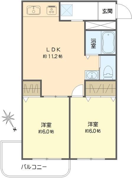 藤沢マンションの間取図/1F/1,290万円/2LDK/48.6 m²