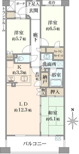 湘南袖ケ浜レジデンスA棟の間取図/3F/2,680万円/3LDK/77.85 m²