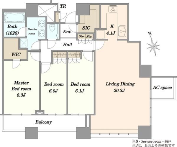 ザ・タワーズ台場 THE TOWERS DAIBAの間取図/18F/13,400万円/3LDK/102.02 m²