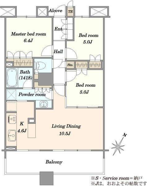 ブリリアマーレ有明タワーガーデンの間取図/8F/5,990万円/3LDK/70.87 m²