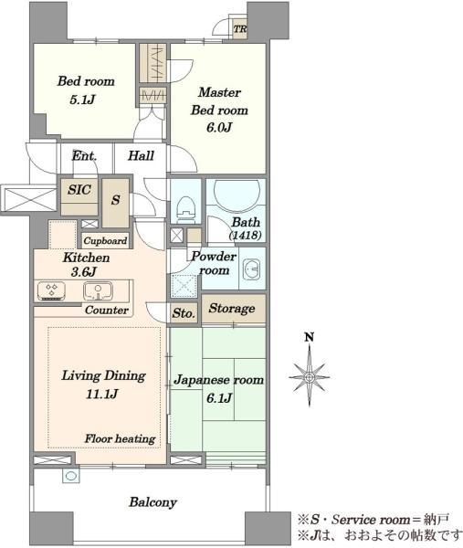 Brillia品川中延の間取図/7F/7,380万円/3SLDK/72.44 m²