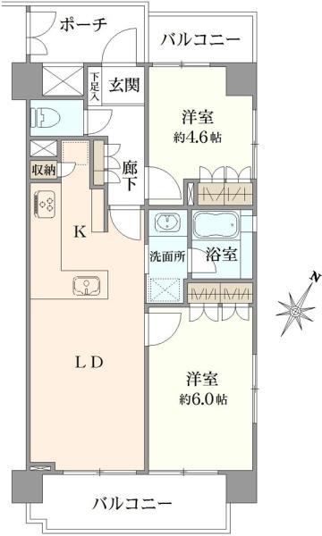 アールヴェール根津弥生坂の間取図/4F/5,380万円/2LDK/50.62 m²