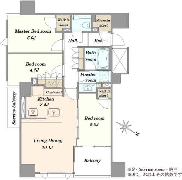 ザ・マジェスティコート目黒の間取図/3F/7,980万円/3LDK/67.63 m²