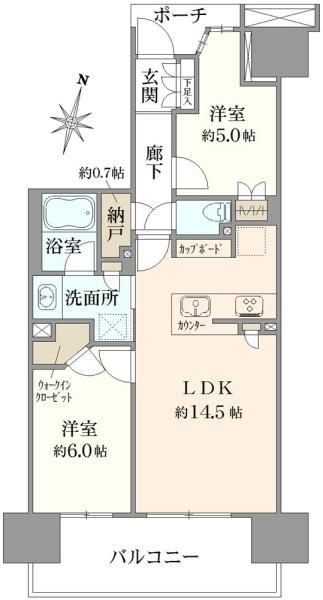 Brillia辰巳 CANAL TERRACEの間取図/12F/4,080万円/2LDK/61.11 m²