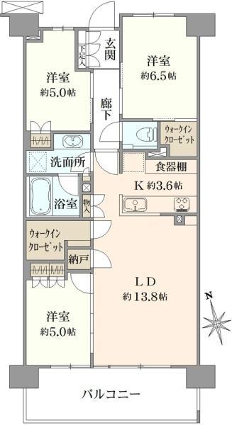 ブリリアシティ三鷹の間取図/2F/4,890万円/3LDK/77.24 m²