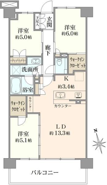 ブリリアシティ三鷹の間取図/2F/4,200万円/3LDK/73.8 m²