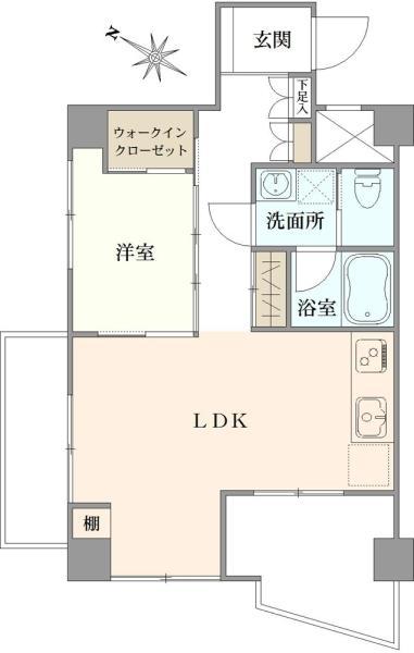 東建ニューハイツ西新宿の間取図/9F/3,780万円/1LDK/40.65 m²