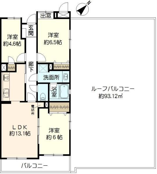 東建ニューハイツ金沢文庫の間取図/5F/2,540万円/3LDK/69.35 m²