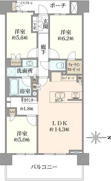 Brillia青葉荏田の間取図/3F/4,180万円/3LDK/72.12 m²