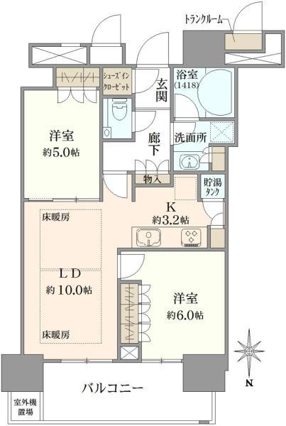 THE TOYOSU TOWERの間取図/35F/5,580万円/2LDK/57.49 m²