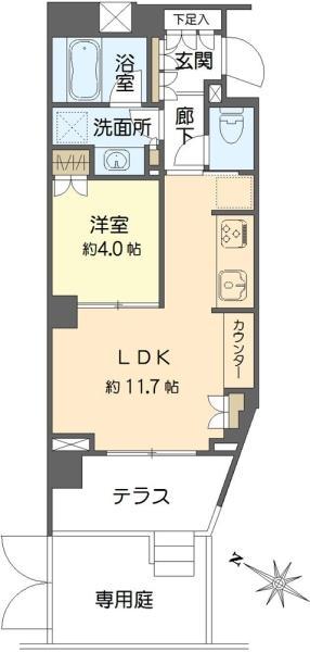 Brillia学芸大学の間取図/1F/5,080万円/1LDK/40.33 m²