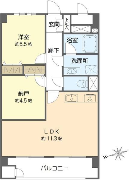 東建マンション学芸大の間取図/2F/3,799万円/1SLDK/49.5 m²