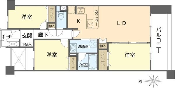 グランヴェール目黒の間取図/3F/7,180万円/3LDK/72.43 m²