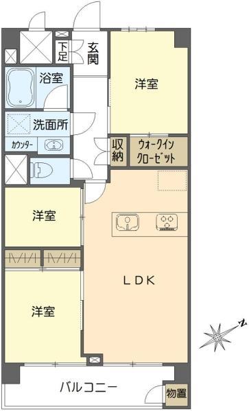 東建マンション学芸大の間取図/7F/5,780万円/2SLDK/55 m²