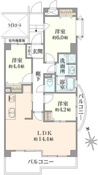 アールヴェール上石神井の間取図/2F/3,580万円/3LDK/66.08 m²
