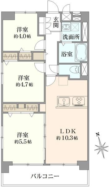 東建中村橋マンションの間取図/8F/3,099万円/3LDK/58.5 m²