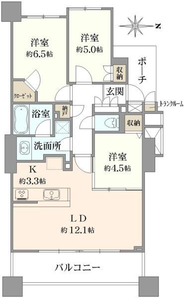 ブリリアタワー所沢ロジュマンの間取図/2F/2,999万円/3LDK/70.97 m²
