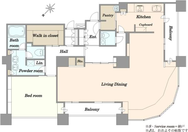 東京ツインパークスライトウイングの間取図/47F/47,000万円/1LDK/168.23 m²