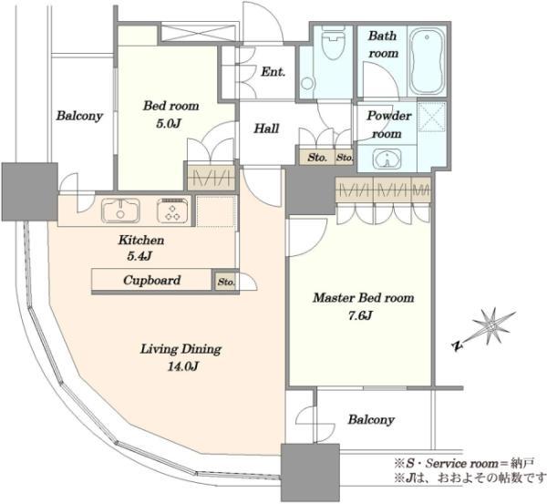 東京ツインパークスライトウィングの間取図/22F/9,980万円/2LDK/69.45 m²