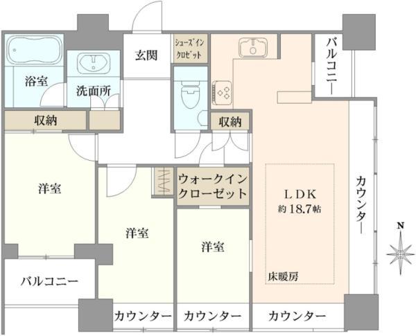 高輪ザ・レジデンスの間取図/4F/11,350万円/3LDK/83.4 m²