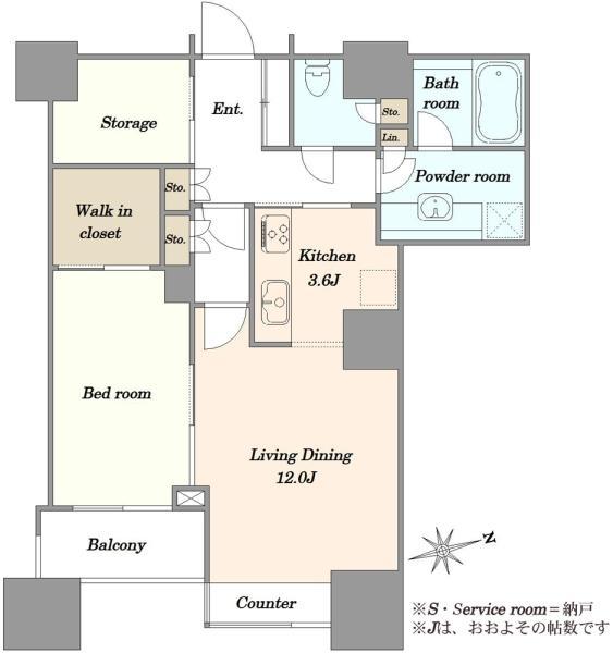 高輪ザ・レジデンスの間取図/14F/9,480万円/1LDK/62.43 m²