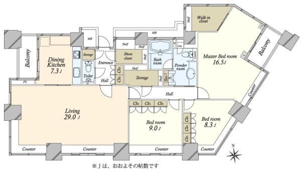 高輪ザ・レジデンスの間取図/39F/33,500万円/3SLDK/157.65 m²