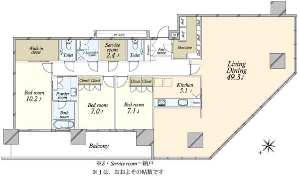 ブリリアグランデみなとみらい パークフロントタワーの間取図/30F/19,800万円/3LDK/183.11 m²