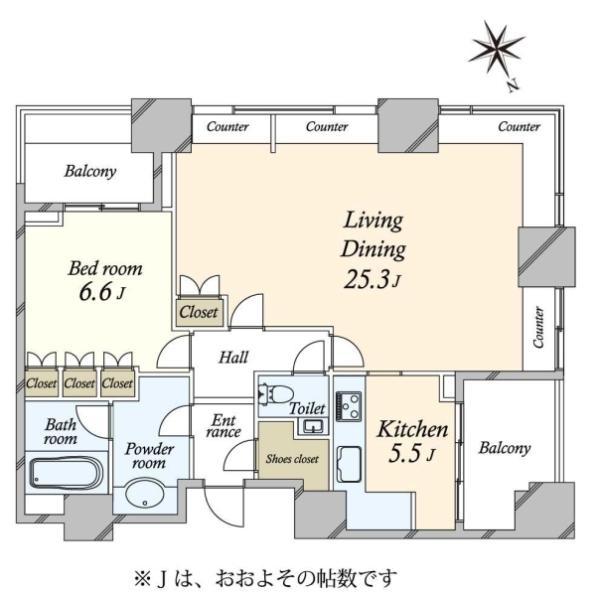 高輪ザ・レジデンスの間取図/23F/11,980万円/1LDK/82.84 m²