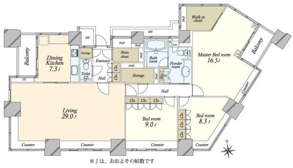 高輪ザ・レジデンスの間取図/39F/30,800万円/3SLDK/157.65 m²