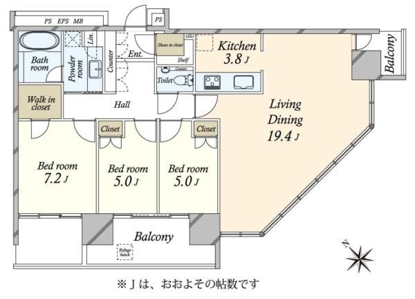ブリリアグランデみなとみらいパークフロントタワーの間取図/29F/12,980万円/3LDK/93 m²