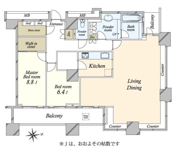 高輪ザ・レジデンスの間取図/39F/25,000万円/2SLDK/121.99 m²