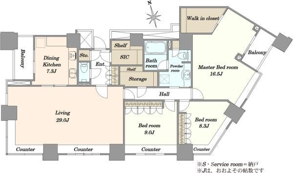 高輪ザ・レジデンスの間取図/39F/28,000万円/3SLDK/157.65 m²