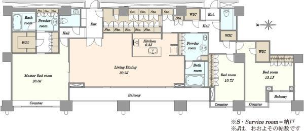 高輪ザ・レジデンスタワー棟の間取図/43F/48,000万円/3LDK/224.19 m²