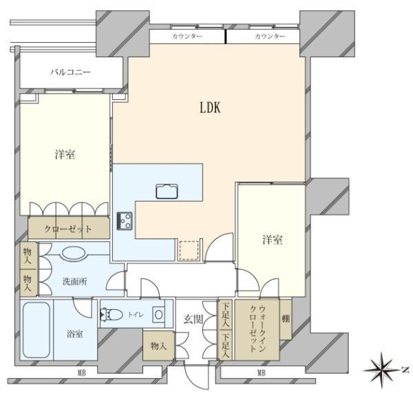 高輪ザ・レジデンスの間取図/27F/13,500万円/2SLDK/75.36 m²