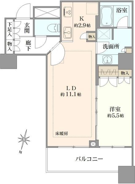 ブリリア大井町ラヴィアンタワーの間取図/18F/5,480万円/1LDK/48.39 m²