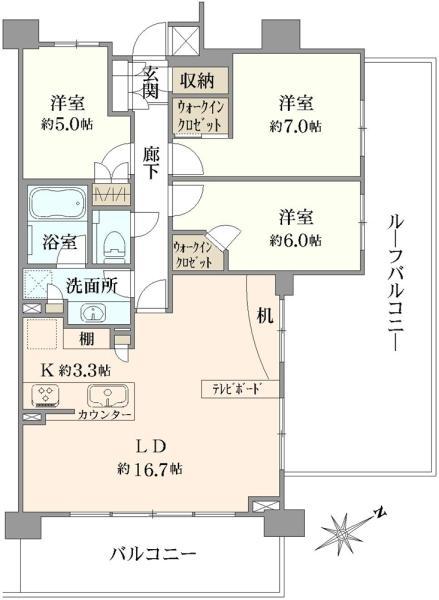 クレヴィア蘆花公園の間取図/6F/6,780万円/3LDK/82.45 m²