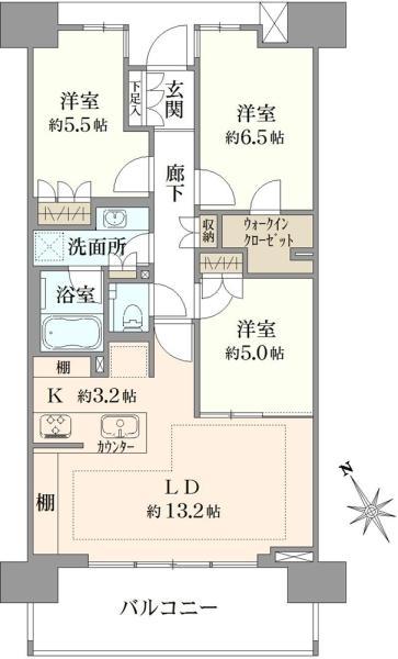 クレヴィア蘆花公園の間取図/8F/5,680万円/3LDK/73.94 m²