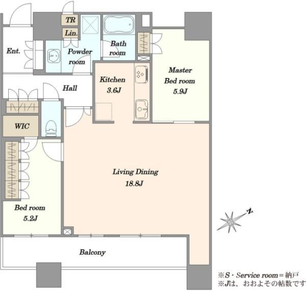 ブリリアタワーズ目黒ノースレジデンスの間取図/4F/14,800万円/2LDK/77.81 m²