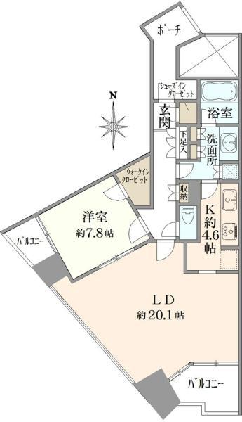 品川Vタワーの間取図/22F/11,000万円/1LDK/76.06 m²