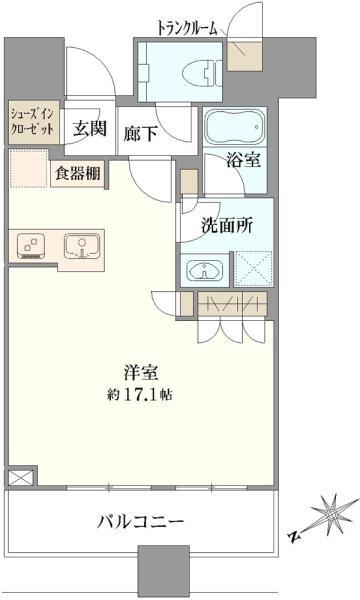 ブリリアタワーズ目黒サウスレジデンスの間取図/22F/8,580万円/1R/42.91 m²