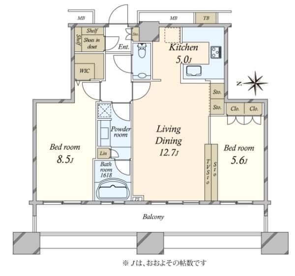 ミッドサザン・レジデンス御殿山の間取図/21F/9,180万円/2LDK/72.21 m²