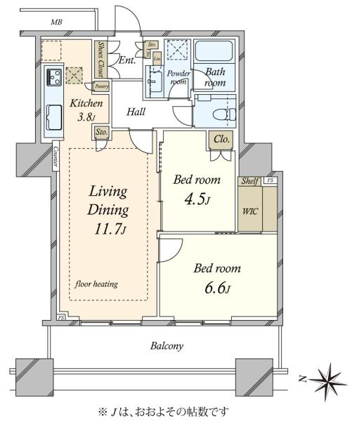 ブリリア大井町ラヴィアンタワーの間取図/24F/7,480万円/2LDK/60.87 m²
