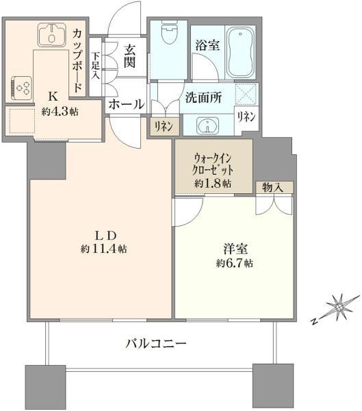 東京ツインパークスライトウィングの間取図/17F/6,980万円/1LDK/53.7 m²